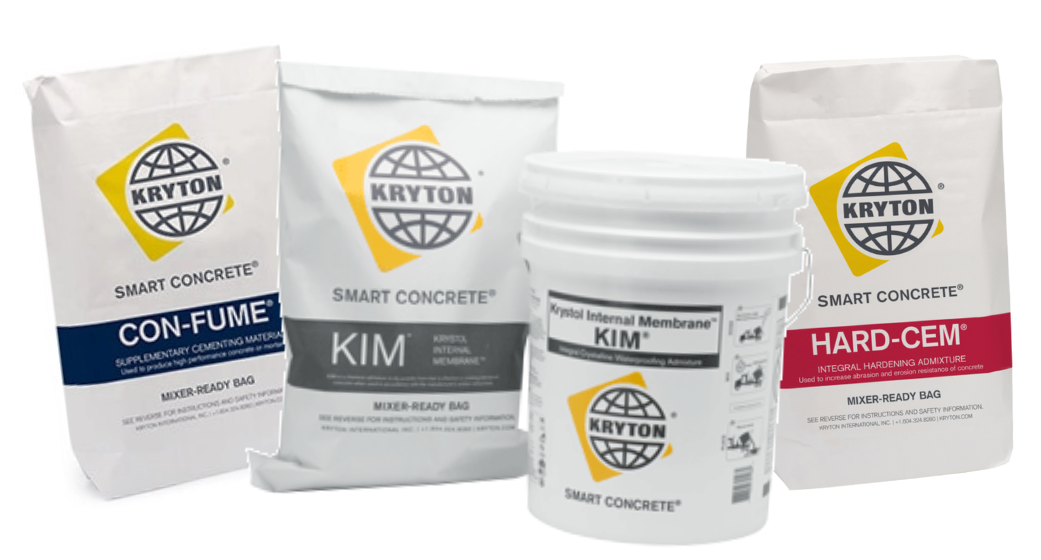 Kryton's Con-Fume, KIM, and Hard-Cem solutions sit next to each other in their packaging against a white background.